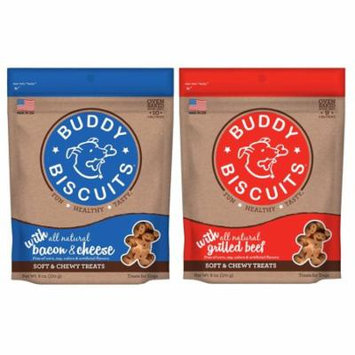Cloud Star Buddy Biscuits 6 oz Soft & Chewy Dog Treats - (1) Bacon & Cheese and (1) Grilled Beef Variety Pack