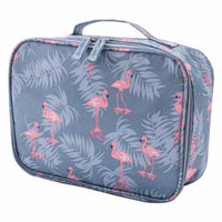 Portable Flamingo Pattern Cosmetic Bag Waterproof Travel Toiletries Organizer Storage Bag - Grey Flamingo Pattern