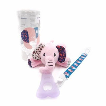 Nissi & Jireh 5 In 1 Pacifier holder plush toy Teether, Pink Elephant