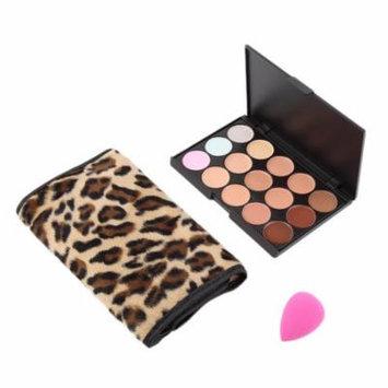 15 Colors Concealer Cream Contour Palette 12 Leopard Brushes 1 Puff Set