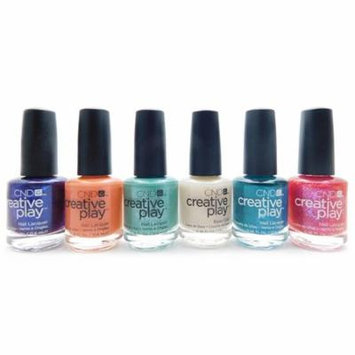 CND Creative Play Nail Lacquer set of 6: Viral Violet, Peach Of Mind, My Mo-Mint, Base Coat, Head Over Teal, Dazzleberry (each .46 Fl Oz.)