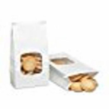 A1BakerySupplies Bakery Bags with window 1LB White 25 Pack