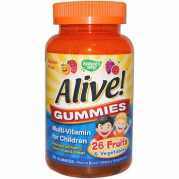 Nature's Way, Alive! Gummies, Multi-Vitamin for Children, Cherry, Grape & Orange, 90 Gummies(pack of 2)