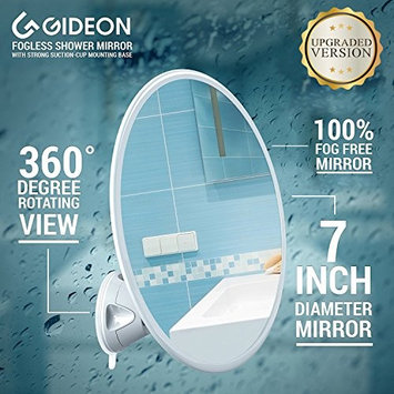 Gideon Fogless Shower Mirror with Strong Suction-Cup Mounting Base - 7 Inch Diam., 360 Degree Rotating for Optimal View Position - For Shaving, Hairstyling and Makeup Application [UPGRADED VERSION]