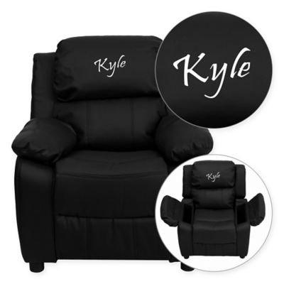 Flash Furniture Leather Kids Recliner in Black