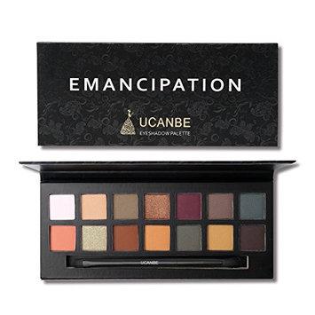 14 Colors Matte Shimmer Eyeshadow Palette,Long Lasting Waterproof Highly Warm Pigment Set
