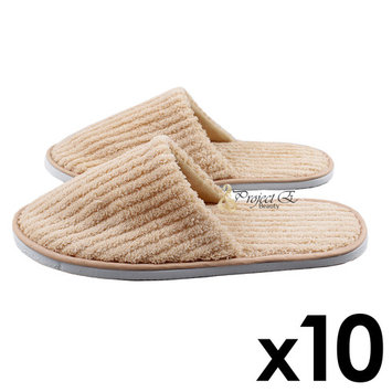 Coral Fleece Striped Slipper Non-Skid Home Salon Spa Hotel Closed Toes Disposable Unisex Slippers - 10 Pairs - Khaki
