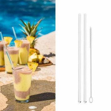 Womail Reusable Glass Smoothie Straws Drinking Straws for Milkshakes Frozen Drinks