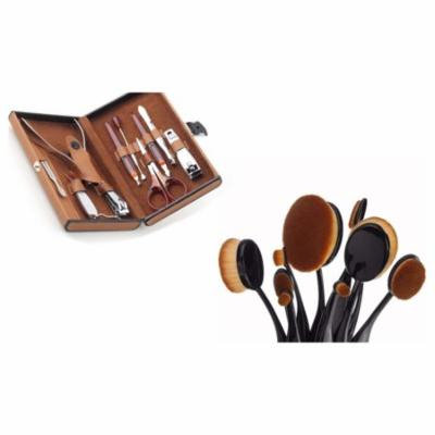 10Pcs Professional Oval Makeup Brushs With Manicure Set