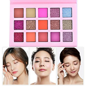 Hatop Eyeshadow Palette 15 Colors Shimmer Glitter Eye Shadow Powder Palette Matte Eyeshadow Cosmetic Makeup