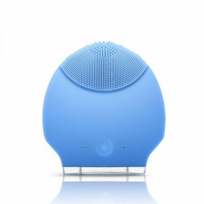 Silicone Personal Rechargeable Mini Ultrasonic Beauty Instrument Super Facial Cleaner Face Care Blue