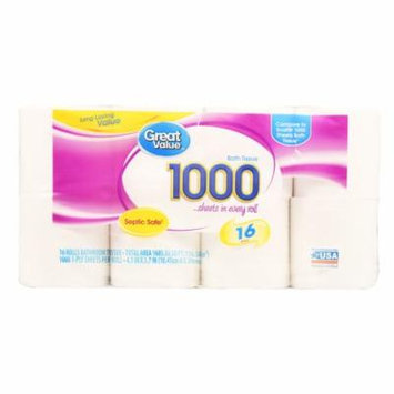 Great Value 1000 Sheets Bath Tissue, 16 Rolls