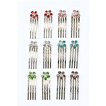 12 Pieces With 6 Different Color Rhinestone With Silver Color Metal Mini Comb C-7