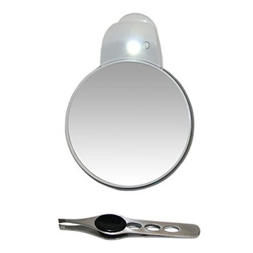 5x plus 1x Mirror with Suction Cup and Built in LED Light with Stainless Steel Eyebrow Tweezer 4