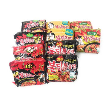 Samyang Hit Spicy Chicken Hot Ramen Noodle Buldak Variety 10 packs (2 each:Nuclear, Original, Cheese, Curry, Stew Type) Spicy Noodle Challenge, 2017 Top Korean Noodle Hit