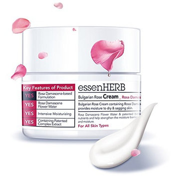 ESSENHERB BULGARIAN ROSE CREAM, Providing Moisture to Dry, Droopy Skin. Whitening and Anti-Wrinkle, Great for All Skin Types. (50ML)