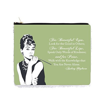 Audrey Hepburn Makeup Quote in Vintage Style Mint - 2 Sided 6.5