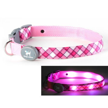 Dog-e-glow Light Up LED Dog Collar - Patented Light Up Durable Glowing Collar for Puppies and Dogs - by Dog e Glow (Pink Plaid, small 8