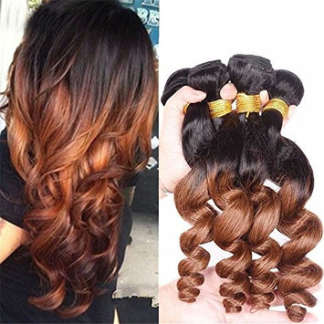 Top Hair Ombre Peruvian Virgin Hair Loose Wave 3 Bundles T1B/30 Loose Deep Wave Hair Wefts (100g/piece,10 12 14 inches)