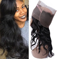 IUEENLY Pre Plucked 360 Lace Frontal Closure With Baby Hair Brazilian Body Wave Virgin Remy Human Hair 360 Frontal Lace Closure Free Part Natural Color (8inch)