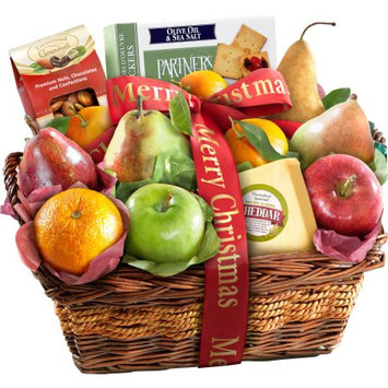 Golden State Fruit Merry Christmas Fruit with Cheese and Nuts Gift Basket, 13 pc