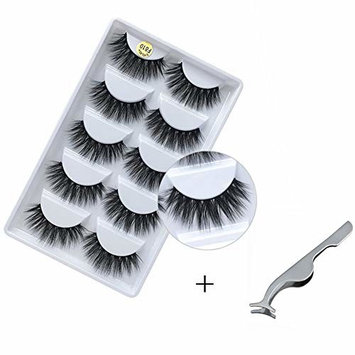 5 pairs 3D Fur Mink Eyelashes Hand-made Natural Curl Messy Volume Fluffy False Eyelashes for Women 5 Pairs/Box with tweezers