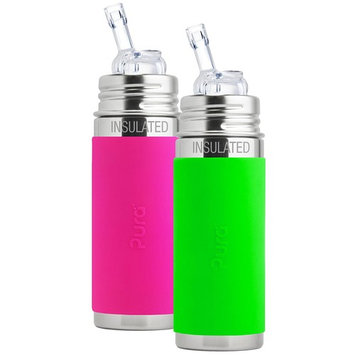 Pura Kiki Stainless Steel Vacuum Insulated Straw Bottle, 9 Ounce, Set of 2, Pink and Green
