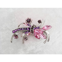 Purple and Pink Crystal Hair Barrette