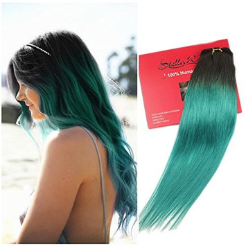 Stella Reina Clip In Hair Extensions 7pcs/120g Teal Blue Green Color Hair Dye Ombre Black to Turquoise Emeralds Full Head Silky Straight Real Remy Human Hair Clip on 16 Inch Shoulder Length []