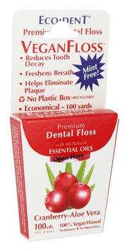 Eco-Dent 230639 Premium Dental Floss VeganFloss Cranberry-Aloe Vera 100 Yards