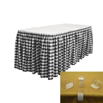 LA Linen SKTcheck30x29-15Lclips-BlackK24 Oversized Checkered Table Skirt with 15 L-Clips White & Black - 30 ft. x 29 in.