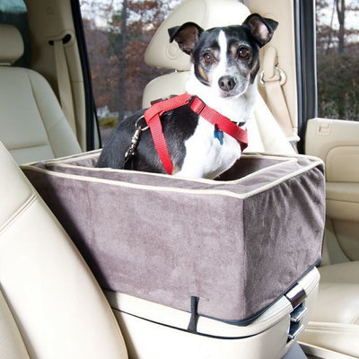 Essential Pet Products SN-27573 Small Luxury Console Dog Car Seat - Dark Chocola