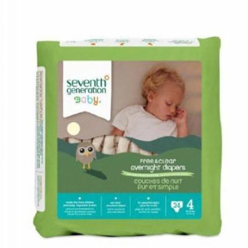 Seventh Generation Baby Free & Clear Overnight Diapers, Stage 4, 24 Count (Pack of 4)