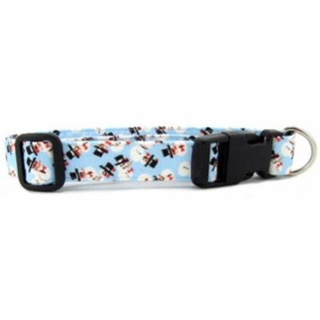 Light Blue Tossed Snowmen Dog Collarpt - Size - Small