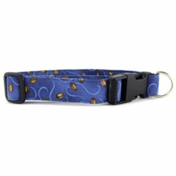 Coffee Beans on Blue Dog Collar - Size - Large