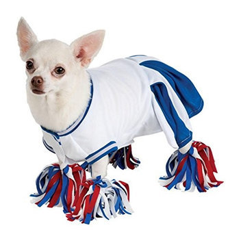 Rubies Costume Co Rubies Dog Cheerleader Costume Blue Cheer Leader Pet Outfit with Pom Pom Anklets
