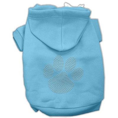 Mirage Pet Products 5455 XXXLBBL Clear Rhinestone Paw Hoodies Baby Blue XXXL 20