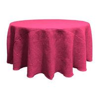 LA Linen TCBurlap120R-Fuschia Round Dyed Natural Burlap Tablecloth Fuchsia - 120 in.