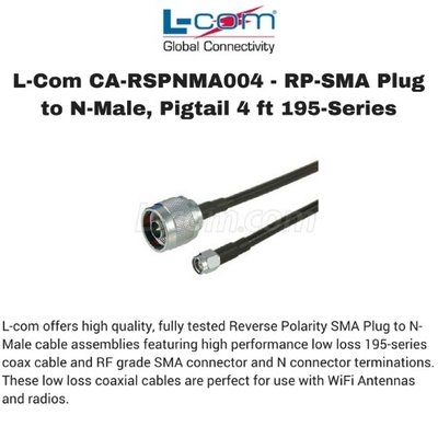 L-Com CA-RSPNMA004 - RP-SMA Plug to N-Male, Pigtail 4 ft 195-Series