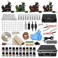 Tattoo Kit with Case Complete Tattoo Gun Kit 4pcs Starter Tattoo Machine Kit Tattoo Kit 20 Colors Tattoo Inks for Beginners CD013