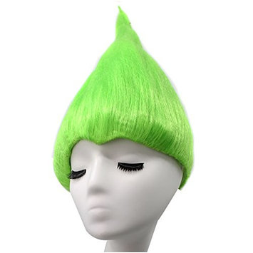 Anogol Hair Cap+Green Princess Troll Wig Poppy Wacky Trolls Cosplay Wigs for Adults Kids