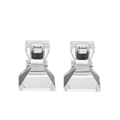 Badash Crystal YD377 PAIR OF CANDELSTICKS H2.75 in.