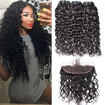 GEM Beauty Brazilian Water Wave Human Hair 3 Bundles With Lace Frontal Closure (18 with 20 22 24, natural black) Wet and Wavy Virgin Hair Extensions with Frontal...