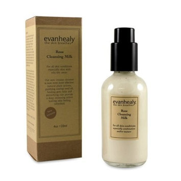 evanhealy Rose Cleansing Milk All Skin Types Especially Dry Oily and Combination with Organic Steam Distilled Geranium Floral Water and Vitalizing Plant Essences, Cruelty Free and Vegan, 4 Ounce