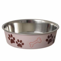 Loving Pets Stainless Steel & Light Pink Dish with Rubber Base Medium - 6.75
