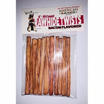 10/5inch Rawhide Twists, Bacon Flavored