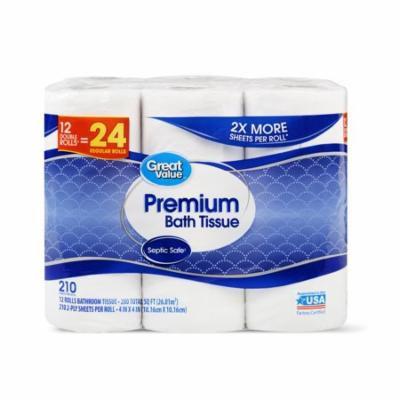 Great Value Premium Bath Tissue, 12 Double Rolls, 24 Regular Rolls