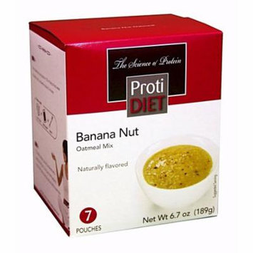 PROTIDIET - High Protein Diet Oatmeal - Banana Nut - Low Calorie - Low Fat - Low Carb - Gluten Free - 7/Box