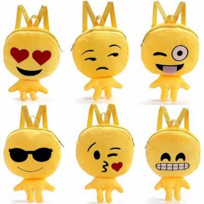 Toddler Backpack Soft Plush Cute 3D Emoji Cartoon Toy Schoolbag Student Rucksack