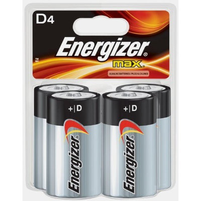 Energizer D Cell Batteries, Max Alkaline (4 Count)